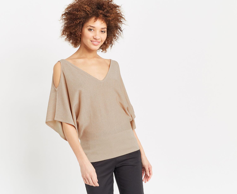 Oasis, Sparkle cold shoulder knit Gold 1