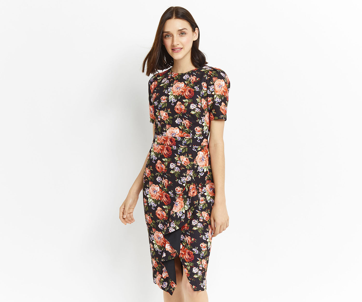 Oasis, ROSE RUFFLE PENCIL DRESS Multi 1