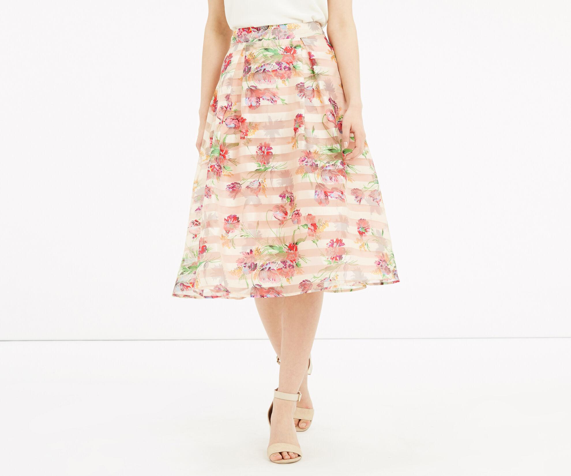 Oasis, Floral Organza Midi Skirt Multi Natural 1
