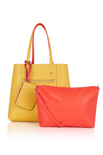 Oasis, Renee Reversible Shopper Multi Orange 3