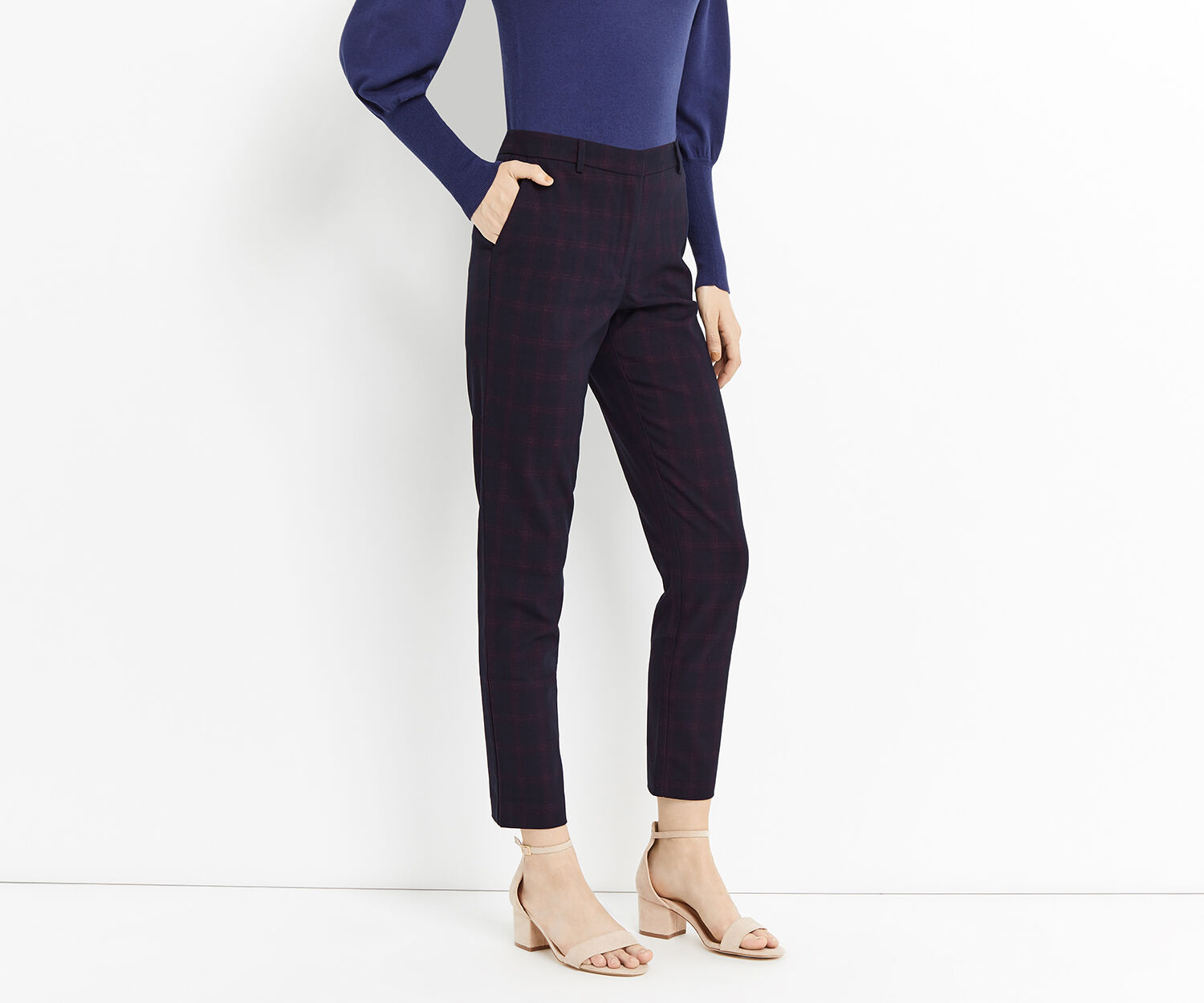 Oasis, SHADOW CHECK TROUSER Navy 1