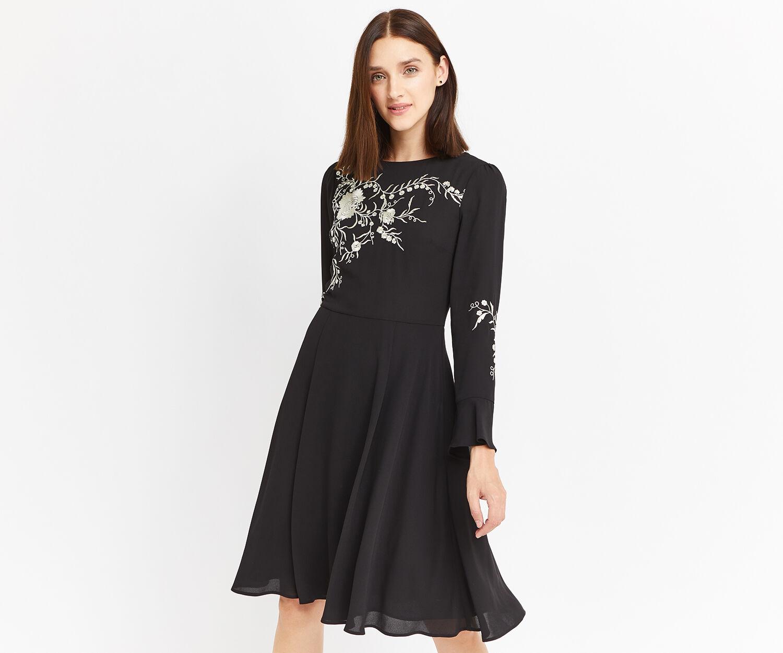 Oasis, LONG KIMONO EMBROIDERED DRESS Black 1