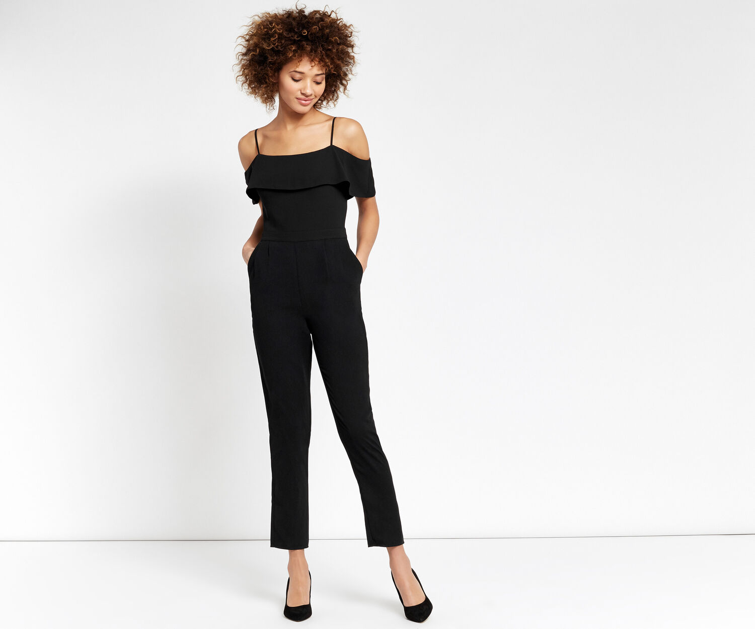 Oasis, COLD SHOULDER JUMPSUIT Black 1