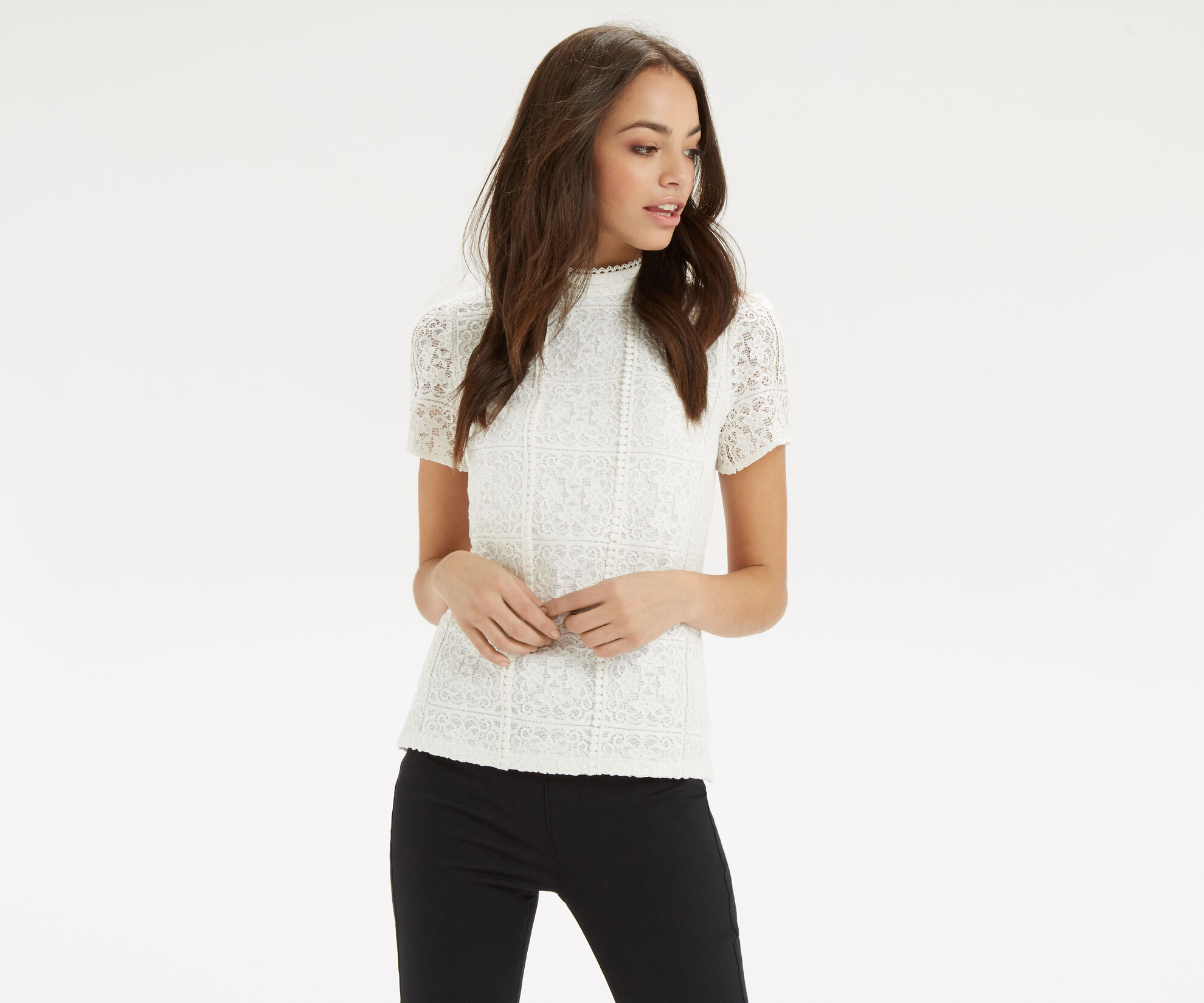Oasis, Lace Pom Pom Top Off White 1