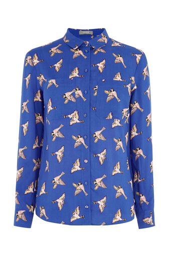 Oasis, COUNTRY BIRD SHIRT Multi Blue 0