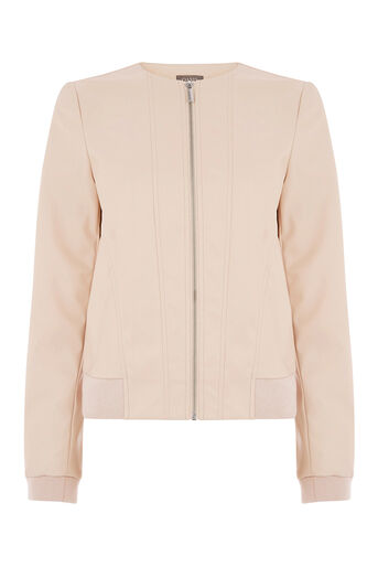 Oasis, FAUX LEATHER BOMBER Pale Pink 0