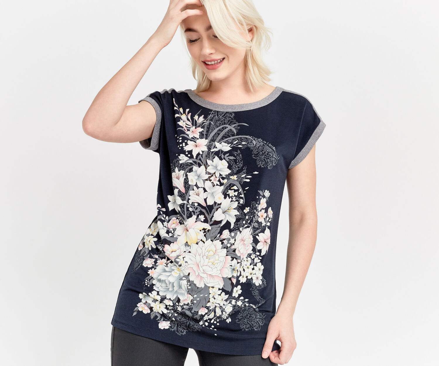 Oasis, LOTUS TIE SIDE PLACEMENT TOP Navy 1