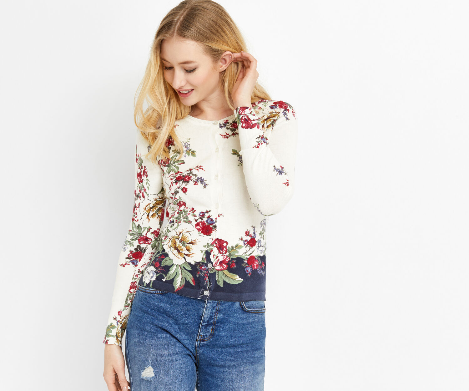 Oasis, BONNIE PLACEMENT PRINT CARDI Off White 1