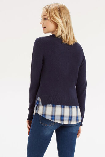 Oasis, Check Shirt Tails Jumper Navy 3
