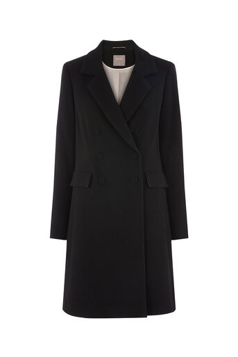 Oasis, CLARA DOUBLE BREASTED CAR COAT Black 0