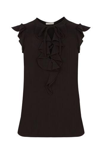 Oasis, Sleeveless Frill Blouse Black 0