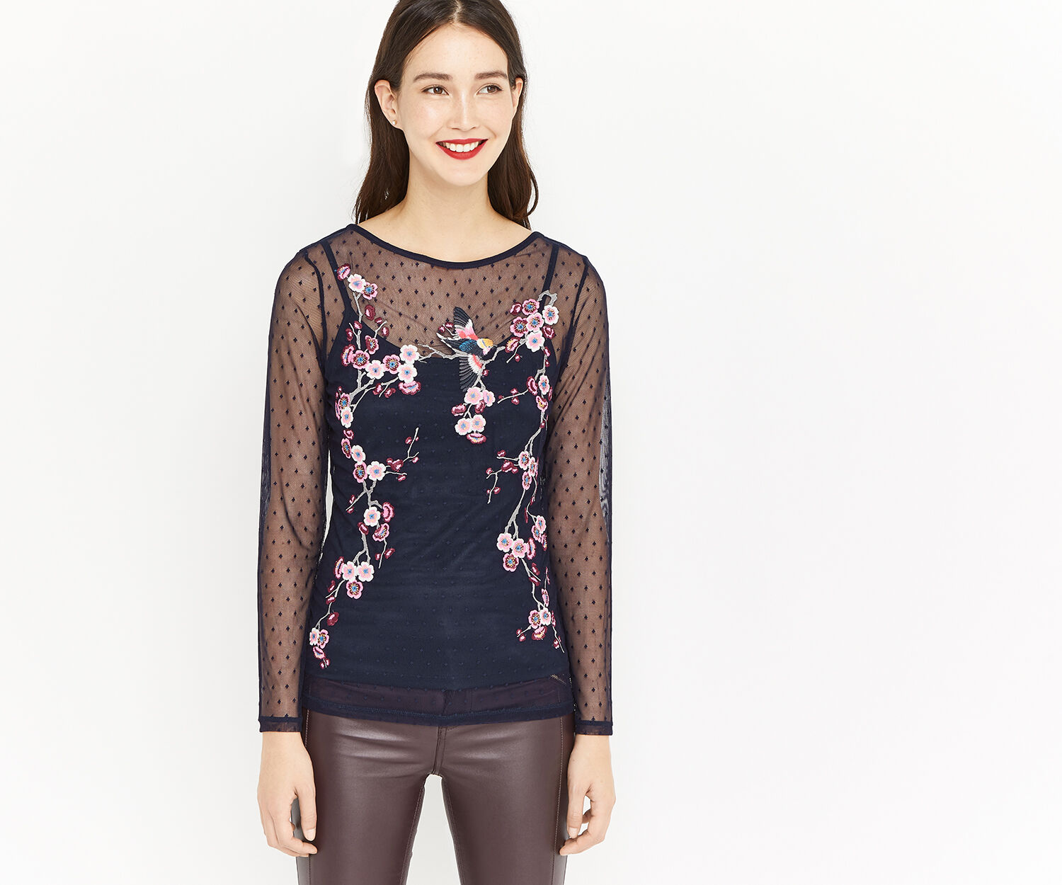 Oasis, EMBROIDERED MESH TOP Navy 1