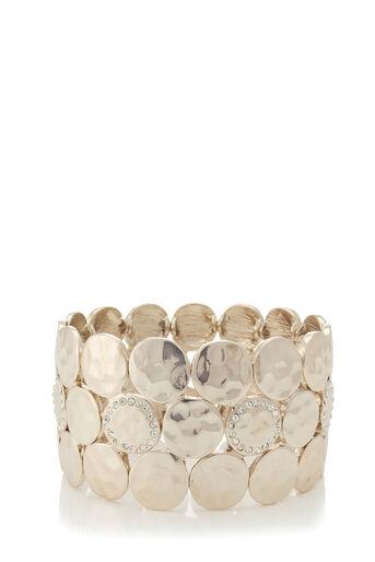 Oasis, Pave Disc Stretch Bracelet Gold 0