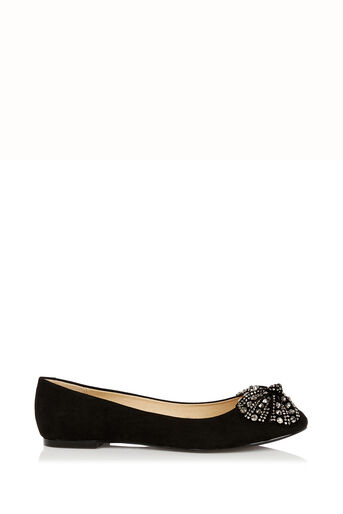 Oasis, Sparkle Bow Ballet Pumps Black 2