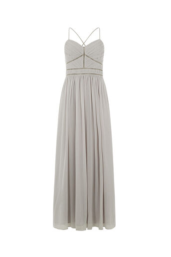 Oasis, TRIMMED CHIFFON MAXI Pale Grey 0