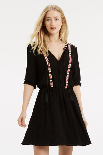 Oasis, Cheesecloth Smock Dress Black 1
