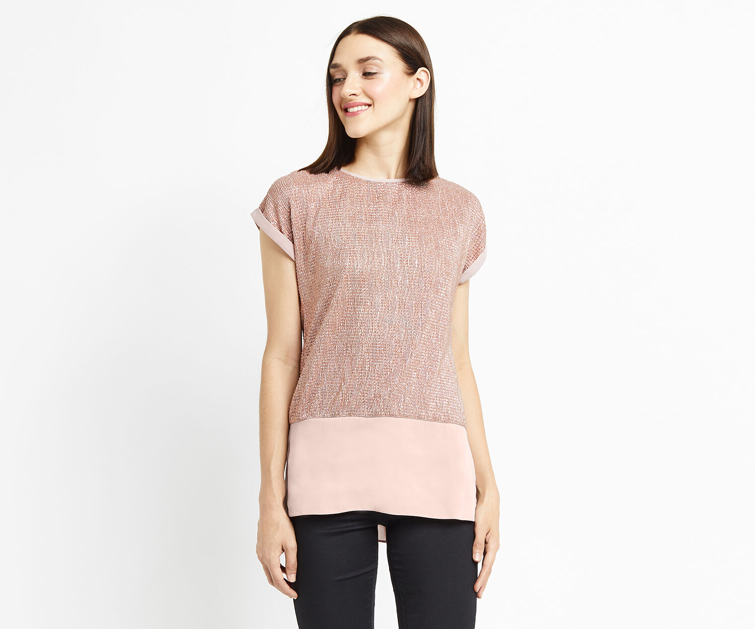 Oasis, DOUBLE LAYER CRINKLE TEE Rose Gold 1
