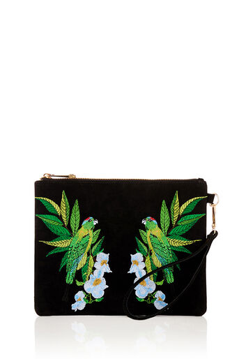 Oasis, PALM BIRD EMBROIDERED CLUTCH Black 0