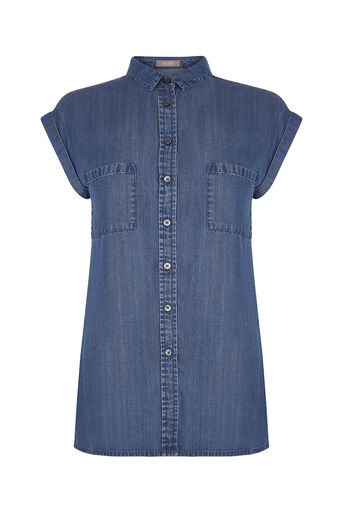 Oasis, TAYLOR TENCEL SHIRT Denim 0
