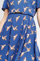 Oasis, LONG BIRD SKATER DRESS Multi Blue 4