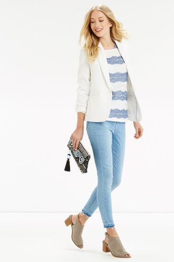 Oasis, Chambray Lace Stripe Shell Off White 2