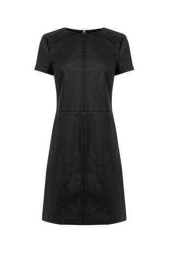 Oasis, FAUX LEATHER SHIFT DRESS Black 0