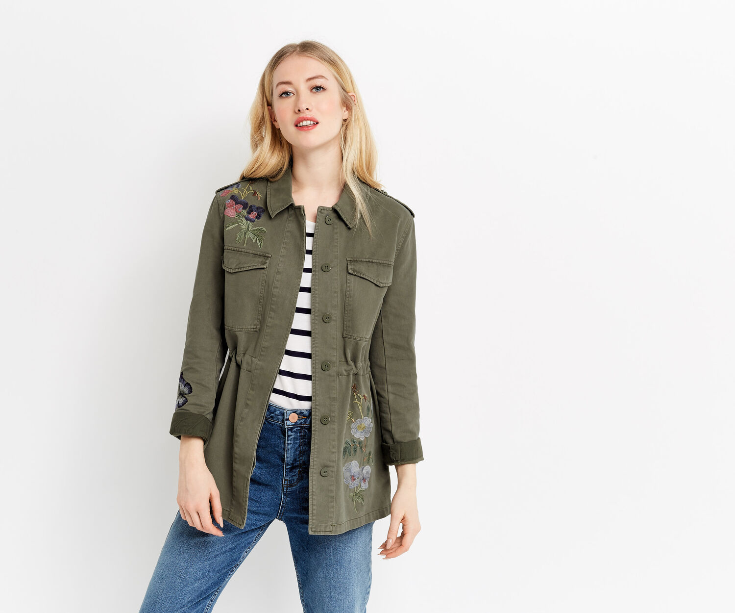 Oasis, EMBROIDERED MILITARY JACKET Khaki 1