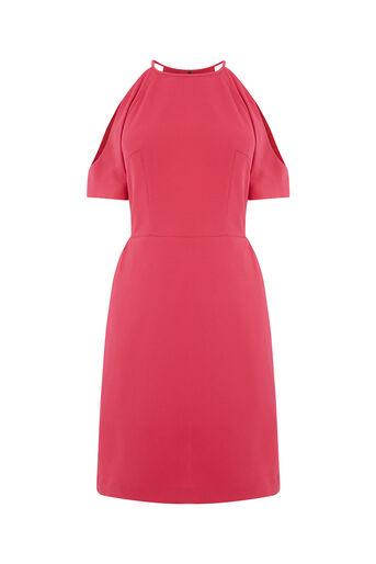 Oasis, COLD SHOULDER SHIFT DRESS Mid Pink 0