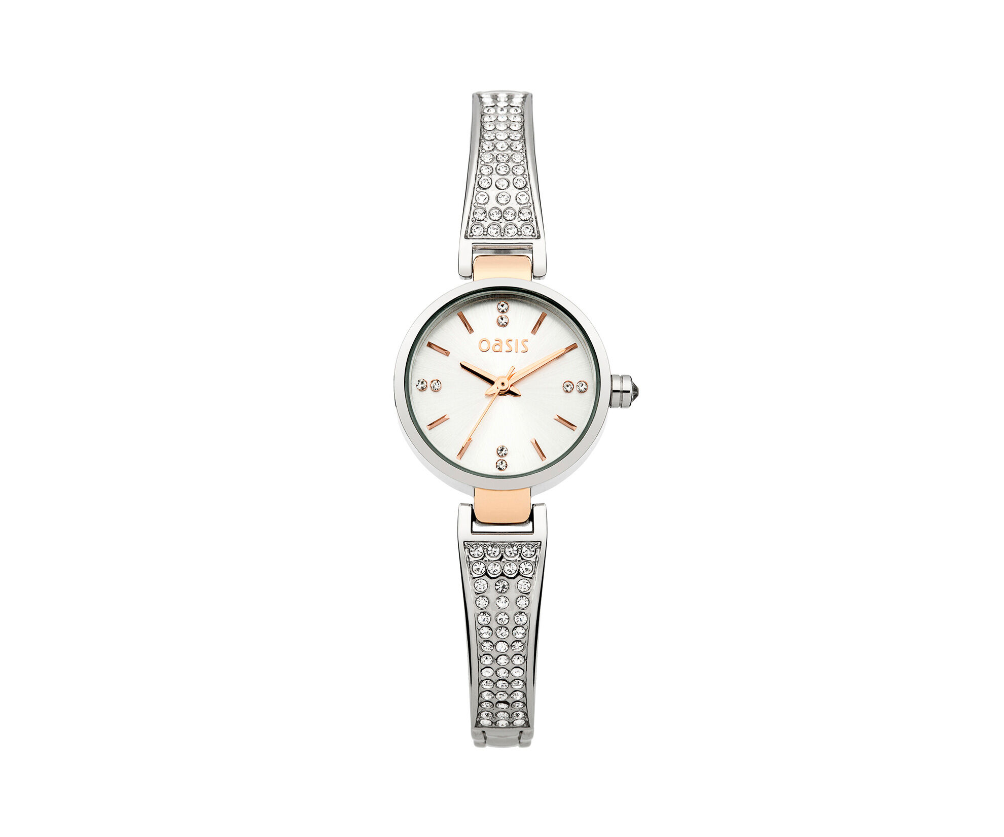 Oasis, Two Tone Half Bangle Watch Silver 0