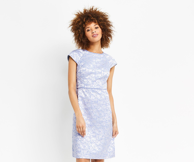 Oasis, LONG JACQUARD SHIFT DRESS Multi Blue 1