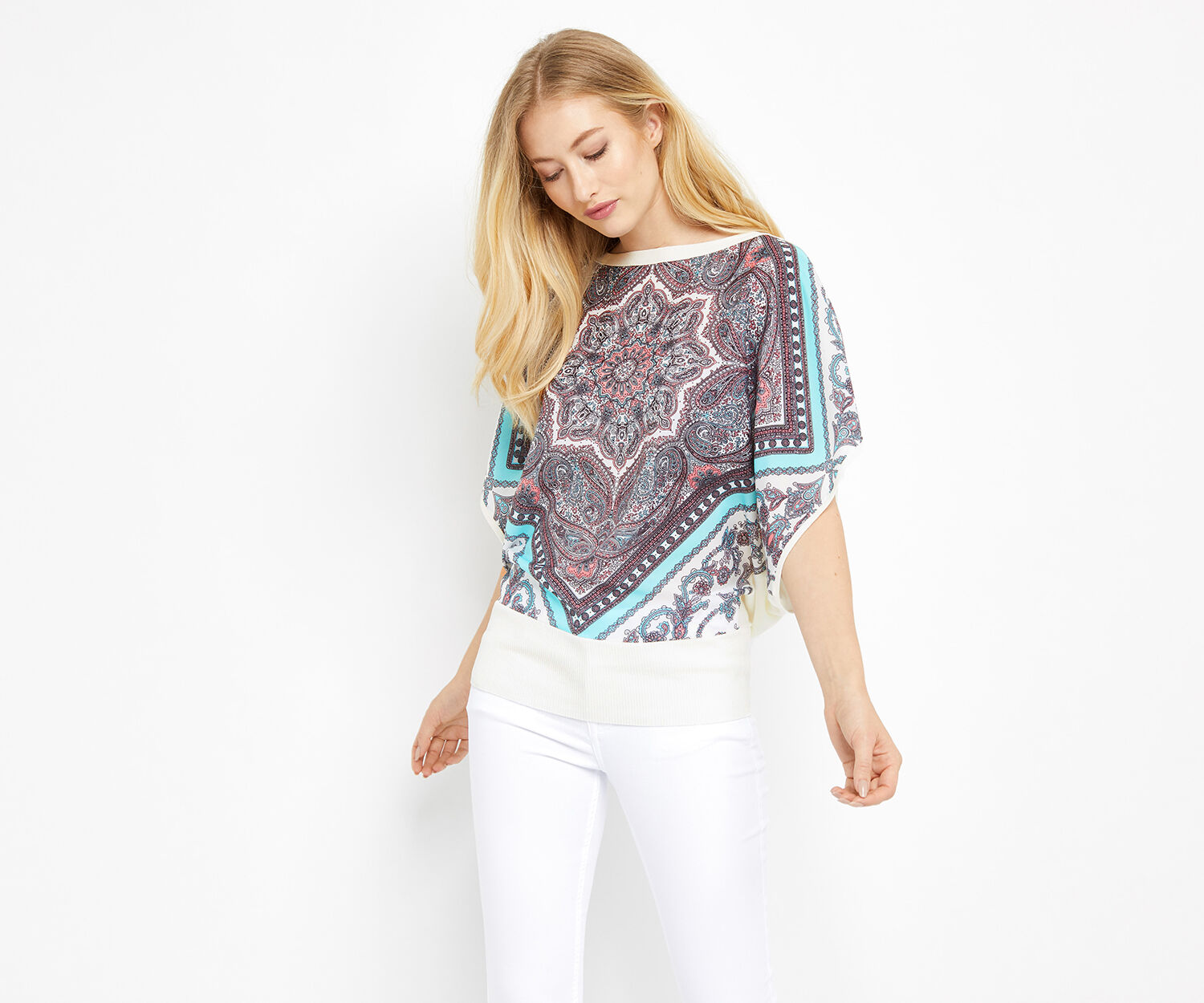 Oasis, SCARF PLACEMENT WOVEN KNIT Off White 1