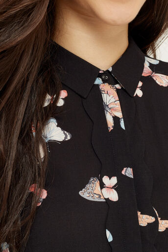 Oasis, BUTTERFLY SCALLOP SHIRT Multi Black 4