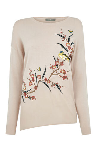 Oasis, Asymmetric bird knit Pale Pink 0
