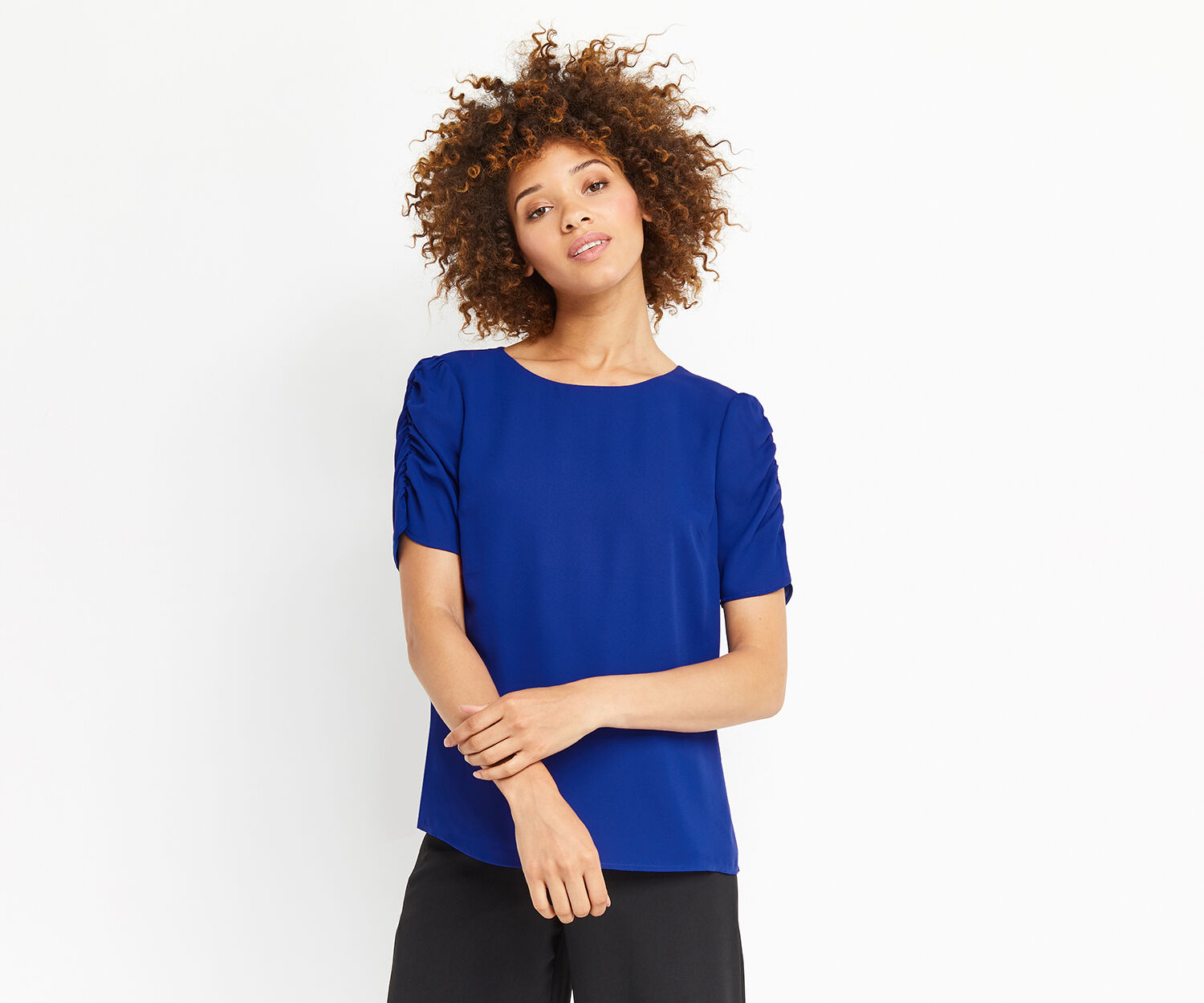 Oasis, RUCHED SLEEVE TEE Rich Blue 1
