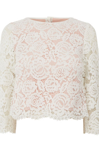 Oasis, LACE BUTTON BACK TOP Off White 0