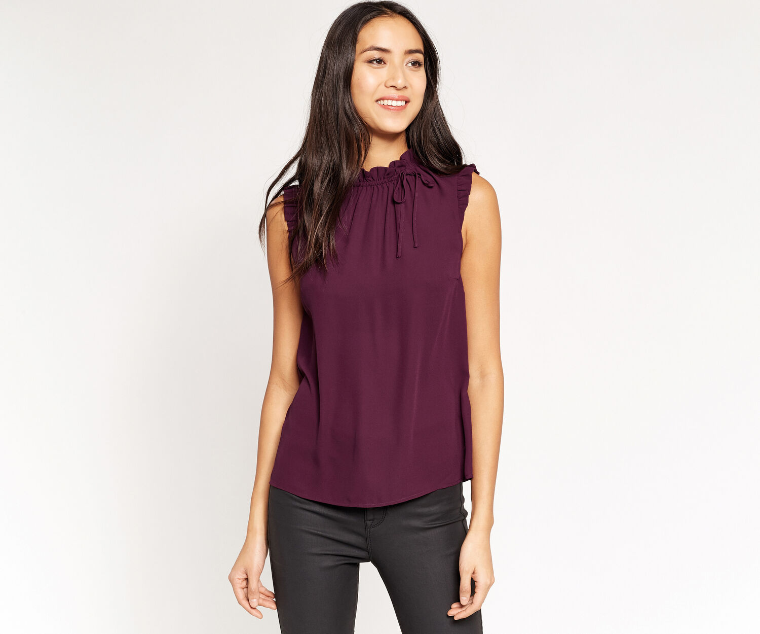 Oasis, RUFFLE NECK TIE TOP Burgundy 1