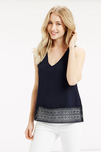Oasis, Lace Trim Top Navy 1