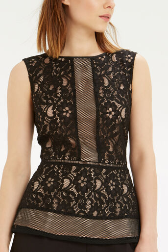 Oasis, Patched Lace Peplum Top Black 4