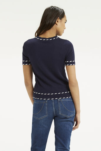 Oasis, Cute Tipped Crew Top Navy 3