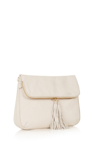 Oasis, Suede Cross-Body Bag Off White 2