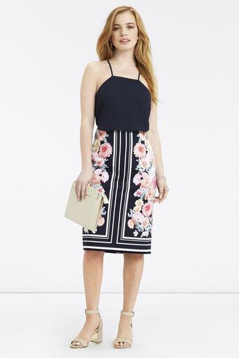 Oasis, Petite Scarf Floral Skirt Multi Blue 2