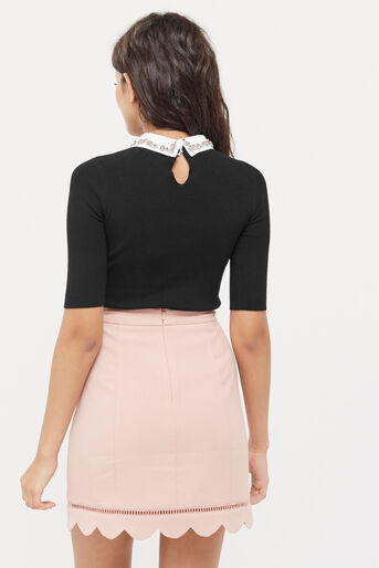 Oasis, Embellished rib collar knit Black 3