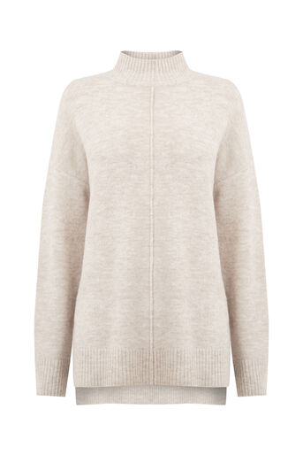 Oasis, HIGH NECK KNITTED TOP Mid Neutral 0