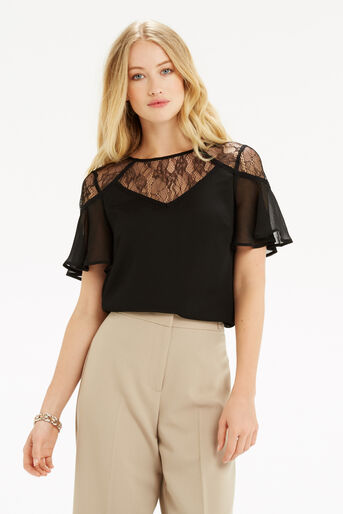 Oasis, Lace Trim Fluted Sleeve Top Black 1