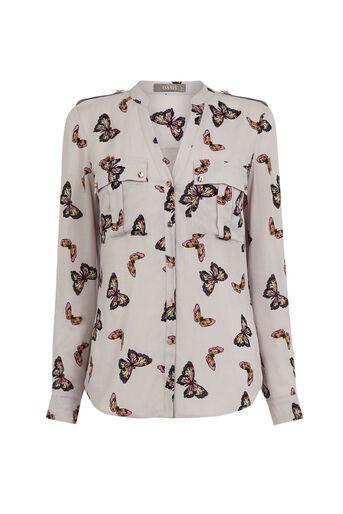 Oasis, Butterfly Viscose Shirt Multi Grey 0