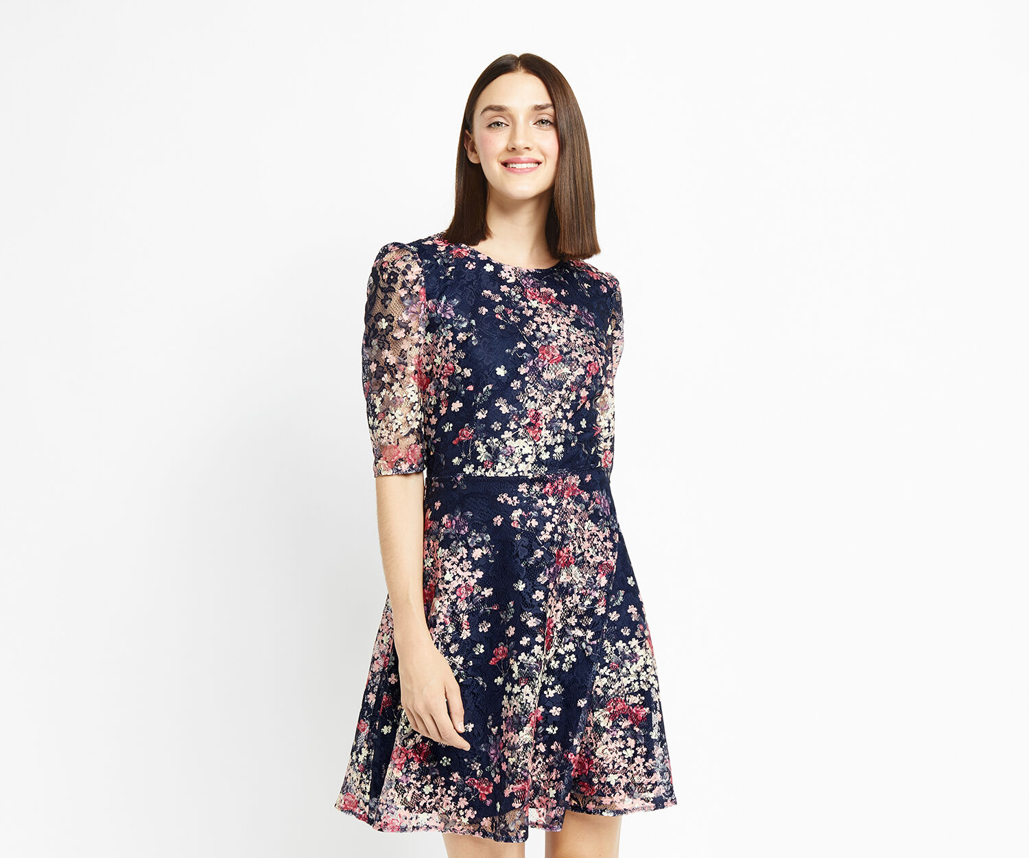 Oasis, PRINTED PUFF SLEEVE LACE DRESS Multi Blue 1