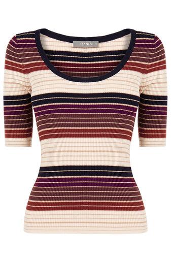 Oasis, Sparkle stripe knit top Multi 0