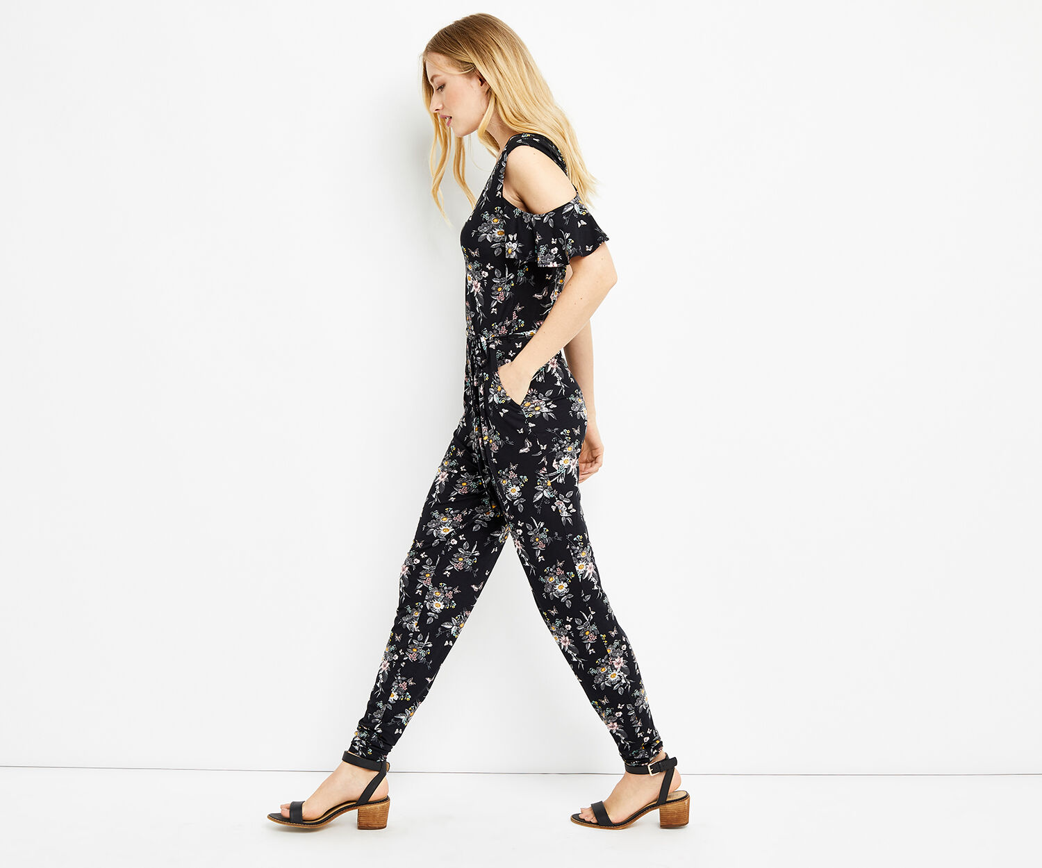 Oasis, SHIPWRECKED WRAP JUMPSUIT Multi Black 1
