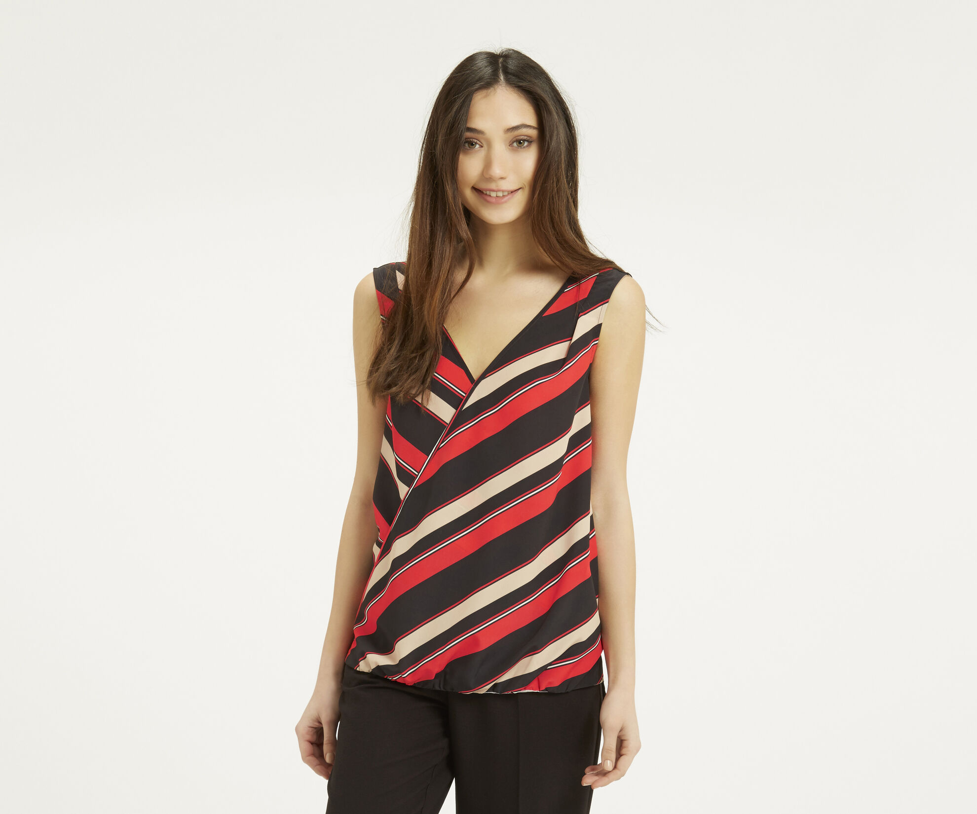 Oasis, Diagonal Stripe Front Top Multi Red 1