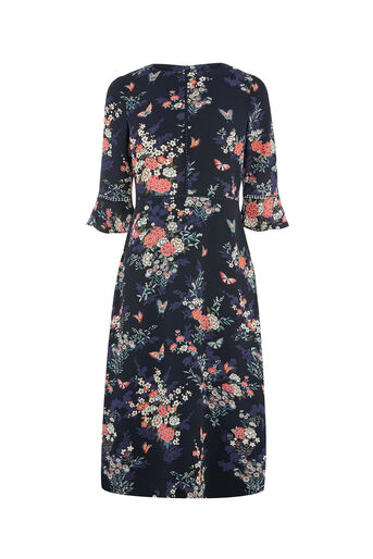 Oasis, KIMONO SLEEVED MIDI DRESS Multi Blue 0